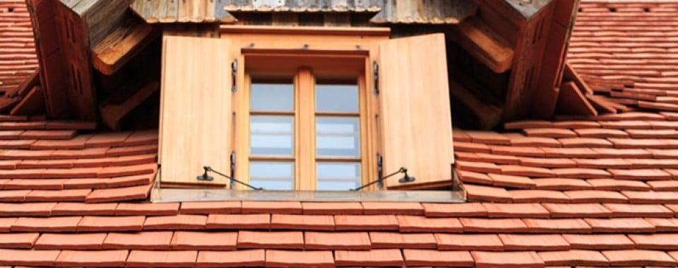 Gaupe mit Holzfenster. Dachfläche mit Gl. Altstadtpaket in naturrot.