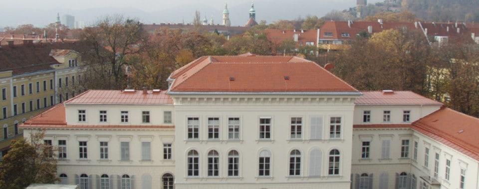 Dachfläche Palais Meran mit Gl. Biber naturrot.