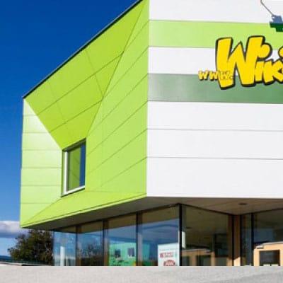 Grüne Fassade Kindergarten Wiki, Graz.
